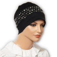 Snood Beret Black Sequin Jacquard Cap 02