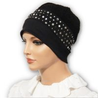 black sequin jacquard hat