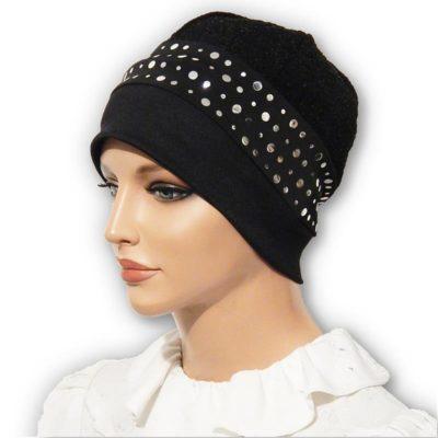 black sequin jacquard hat