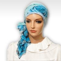Teal Rose Swirls Cap Scarf 02