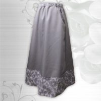 Grey Floral Border Print Pocket Skirt 02