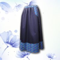 Navy Frond Border Print Pocket Skirt 03
