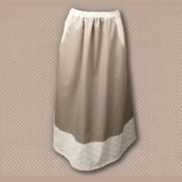 Tan Floral Border Print Pocket Skirt 01