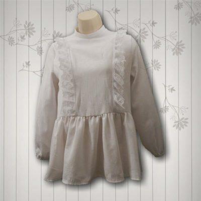 white lace panel blouse